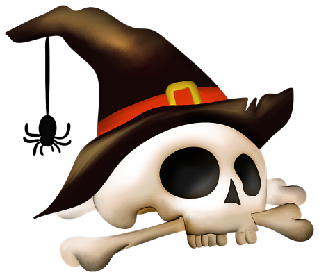 Halloween_Skull_with_Bone_and_Witch_Hat_Clipart
