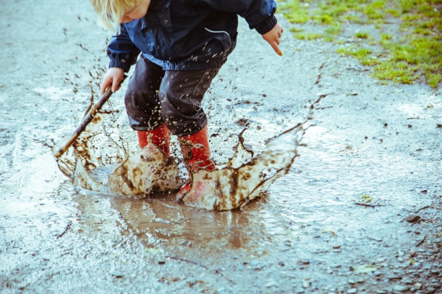 For the Love of Puddles Splish Splash Smart_Boy stomping in puddle